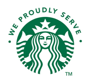 We Proudly Serve Starbucks logo